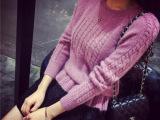 时尚爆款女式毛衣套头衫 2015秋装新品圆领纯色针织衫羊绒衫女式