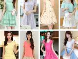 2015夜市地摊货源最新款夏季日韩女装清仓女式修身中长款连衣裙