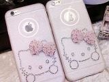 iPhone6 plus手机壳 苹果6软壳 5s水钻全包闪粉后壳  猫 蝴蝶带钻