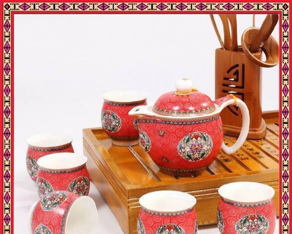 青花瓷双层杯茶具套装隔热设计独特茶具家用茶壶套装