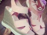 欧洲站2015夏季新款女鞋松糕厚底坡跟鱼嘴凉鞋麻绳草编真皮女凉鞋
