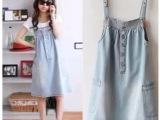 新款女装韩版侧口袋可爱时尚百搭牛仔吊带裙背带裙连衣裙