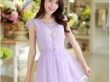 夏装新款韩版修身圆领短袖蕾丝欧根纱连衣裙女淑女裙子