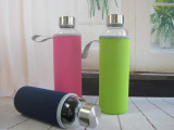 促销耐热玻璃杯车载水杯矿泉水瓶广告杯学生水杯带杯套可印字