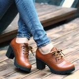 2014秋冬新款真皮女鞋女士休闲鞋头层牛皮女单鞋粗跟复古皮鞋批发