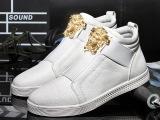 冬季男式鞋白色滑板鞋韩版潮鞋秋季男鞋子运动休闲鞋高帮板鞋学生