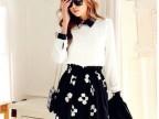2014春装新款韩版长袖花色拼接收腰显瘦连衣裙 免费加盟代理代发