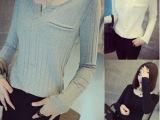 2014秋装韩版新款竖纹理百搭经典口袋小V领打底衫长袖T恤女潮