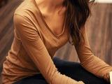2014秋季新款打底针织衫多色加肥加大纯棉V领高档舒适外贸女装