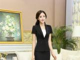 夏季韩版女装职业装套装短袖套裙一粒扣V领女士显瘦OL酒店工作服