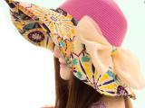气质帽子女夏天韩版草帽可折叠骑车太阳帽沙滩帽大沿户外防晒帽