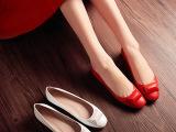 2015新款秋单鞋 头层牛皮小圆头平底鞋内增高平跟女鞋真皮单鞋