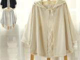 日系甜美全蕾丝连帽斗篷小外套 森女系披肩蝙蝠开衫春装新款