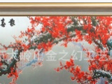 厂家定制工艺品 高端大气装饰画 纯手工雕刻画 彩雕报春图