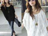 韩版女装批发春夏装波浪宽松蝙蝠衫露肩短袖T恤打底上衣一件代发