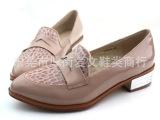 欧美复古漆皮裸色浅口厚底单鞋 英伦风单鞋 平底女鞋