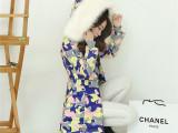 2014新款毛领迷彩羽绒服女中长款加厚修身韩版潮冬季女装修身外套