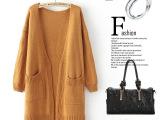 M1850 韩版女装秋冬新款糖果色宽松中长款双口袋针织开衫批发