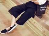 2015夏装韩版时尚女装薄款宽松高腰阔腿裤百搭七分裤