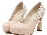 欧洲站新款女鞋 粗跟亮片夜店女士单鞋 防水台ol超高跟女鞋 批发