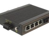 汉源高科百兆1光4电5口工业级光纤收发器,工业级网络交换机