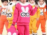 一件代发童装秋冬季男童女童时尚加厚卫衣外套马甲兔子三件套装