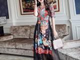 真丝高档连衣裙 格蕾斯女装品牌折扣长袖连衣裙批发