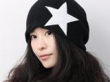 韩版 男女款秋冬五角星宽松非主流套头帽 针织帽情侣毛线帽子批发