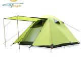 批发户外野营露营帐篷 苔原地带 三人三用双层透气防暴雨铝杆帐篷