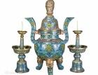 铜胎掐丝珐琅香炉烛台