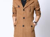 **产品新款XL风衣普通现货纯色大衣XXXL翻领无腰带外套男呢大
