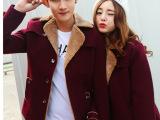 2014秋冬新款情侣装 羊羔绒领短款韩版呢子大衣 男女情侣毛呢外