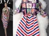 2014欧美女装戚薇明星同款三色条纹背心裙+邮票套衫连衣裙J77