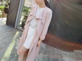韩国风衣女 2015春秋韩版修身中长款系带休闲女式风衣薄款外套女