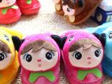 卡通玩具头熊猫儿童毛绒冬季棉拖鞋娃娃头拖鞋批发厂家直销吹气底
