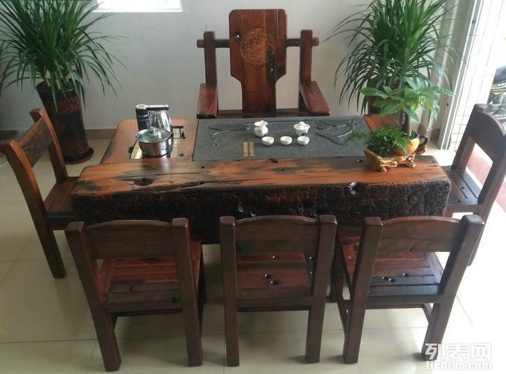 三明市老船木茶桌椅子仿古茶台实木沙发茶几餐桌办公桌家具博古架