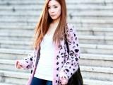 韩国代购 东大门女装 豹纹冰淇淋色 毛衣