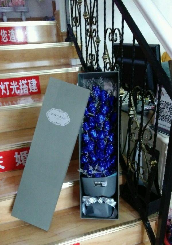 蓝色妖姬礼盒玫瑰花爱人生日鲜花情人节礼物