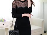 2015 新款秋装韩版圆领修身蕾丝针拼接织打底衫黑色长袖连衣裙潮