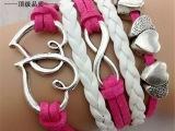 欧美外贸手饰品 复古多元素 桃心 8字多层编织手链手镯