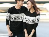 2014秋冬装新款韩版时尚修身情侣装小鹿毛衣长袖中长打底针织衫