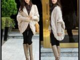 #H6122 秋冬新款韩版粗针麻花厚款蝙蝠袖超大码时尚披肩毛衣外