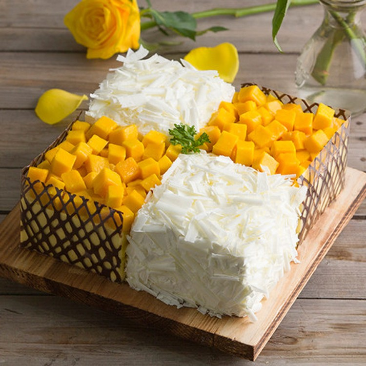 梅州幸福西饼生日蛋糕配送梅县梅江区榴莲芒果千层慕斯芝士