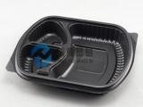 供应一次性黑色三格快餐盒 可加热便当盒