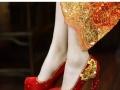 中式秀禾服婚鞋女水晶鞋新娘鞋红色高跟单鞋影楼婚纱婚礼结婚鞋子