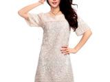 2014夏季新款韩版 盘花刺绣 短袖真丝连衣裙修身显瘦 范冰冰同