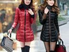 大码女装PU皮棉衣2014冬装新款连帽修身中长款女式羽绒棉服外套潮