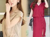 歌蕙夏欧美裙子 大码韩版优雅OL时尚铜氨丝连衣裙 一件代发女装