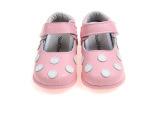 粉红色女童真皮鞋 新款儿童单鞋 魔术贴粘扣宝宝鞋