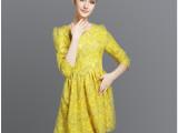 现货批发 2015秋季欧美女式中袖显瘦花朵蕾丝刺绣连衣裙时尚A字